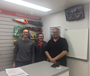 Mike Hewison (Branch Sales Manager), James Teahan (Trade CounterWarehouse Assistant), Mark Rushworth (Branch Manager)