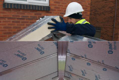Once all of the framework for the roof is assembled,  start fitting the pre-cut 100mm insulation.