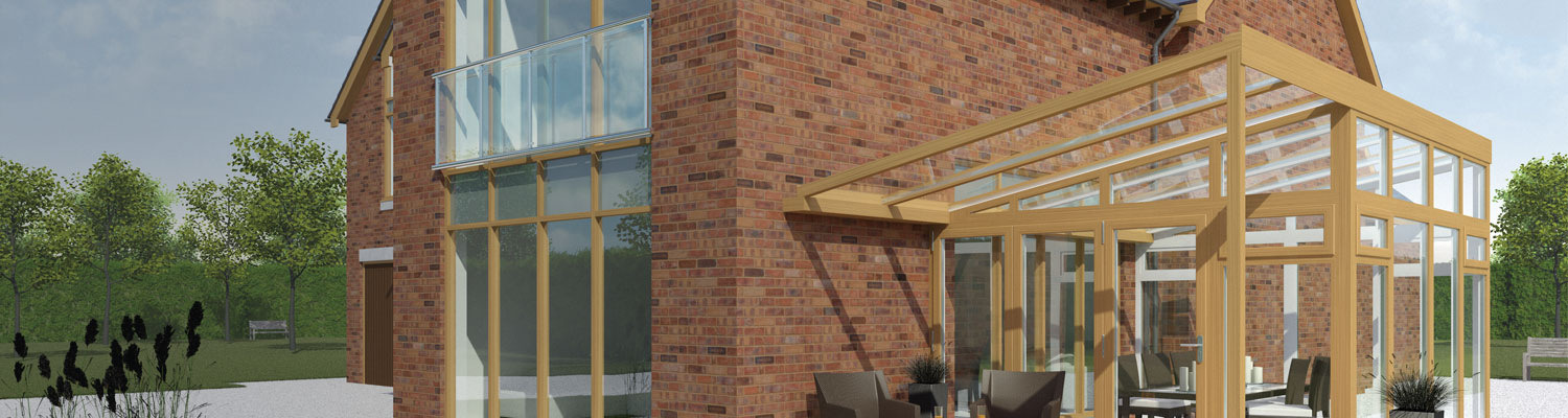 wood coloured lean to conservatory
