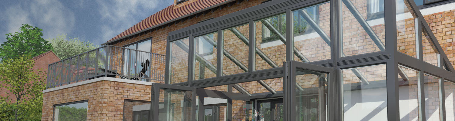 contemporary coloured lean to conservatory