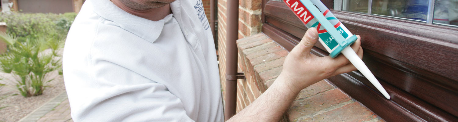 applying silicone window sealant to casement windows