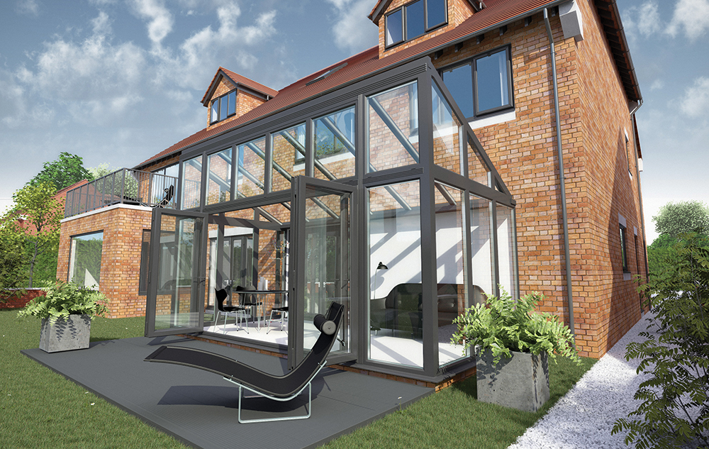 bespoke contemporary conservatory with coloured upvc