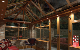 bespoke conservatory with colours upvc windows, doors and skylight