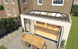 conservatory with bifold doors and skylight