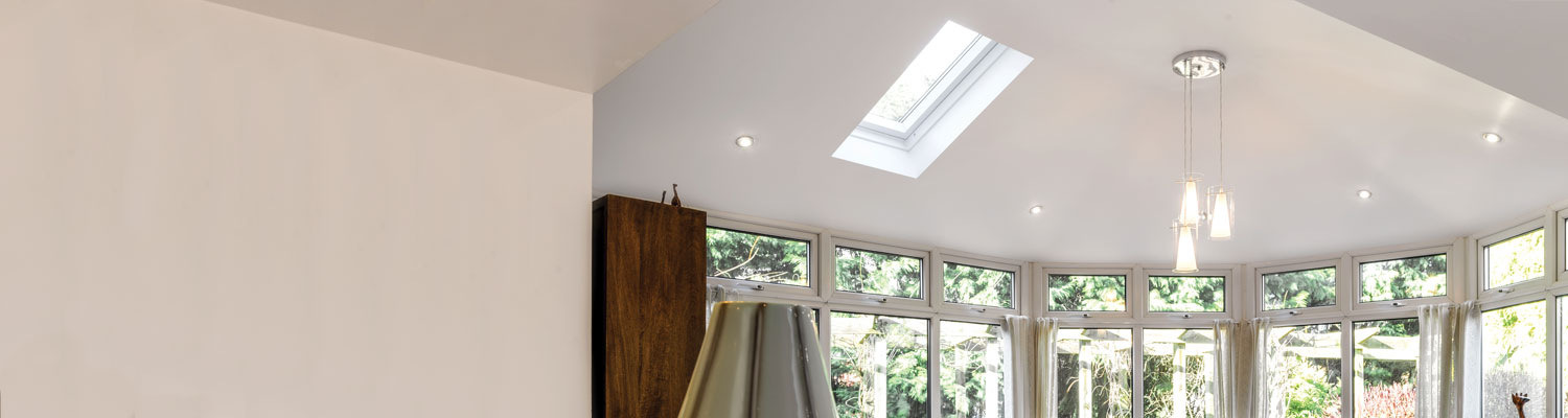 white upvc conservatory ceiling with skylight