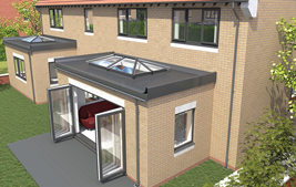 upvc skypod skylight on top of conservatory with bifold doors
