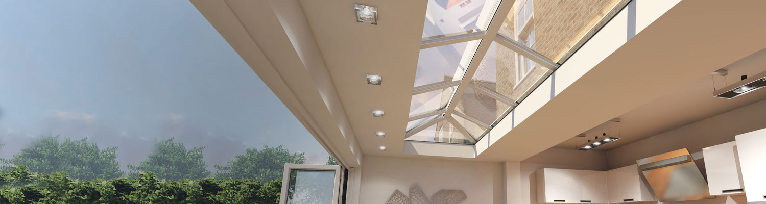 long white upvc skylight in conservatory with bifold doors