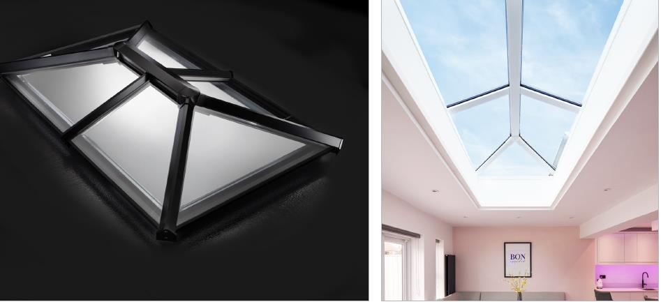 white upvc skypod skylight in conservatory with bifold doors