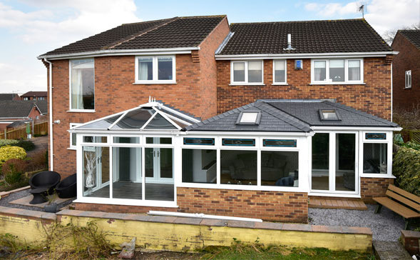 equinox tiled roof system for white upvc conservatory