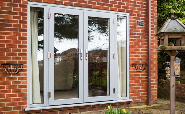 coloured upvc modus french doors with windows either side