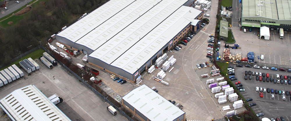 birds eye view of a eurocell warehouse