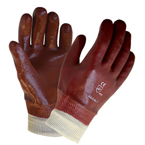 Red PVC Knitwrist Gloves