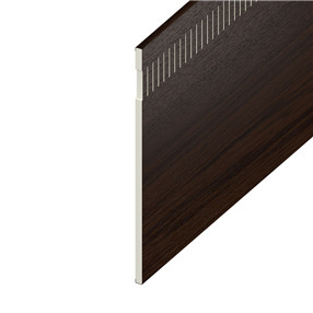 150mm Vented Soffit Board in Rosewood on White x 5m