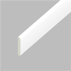 45mm x 6mm Pencil Round Flat Architrave in White x 5m